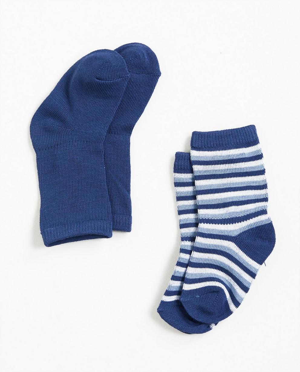 Set aus 2 Paar Strümpfen - in Blau - Newborn